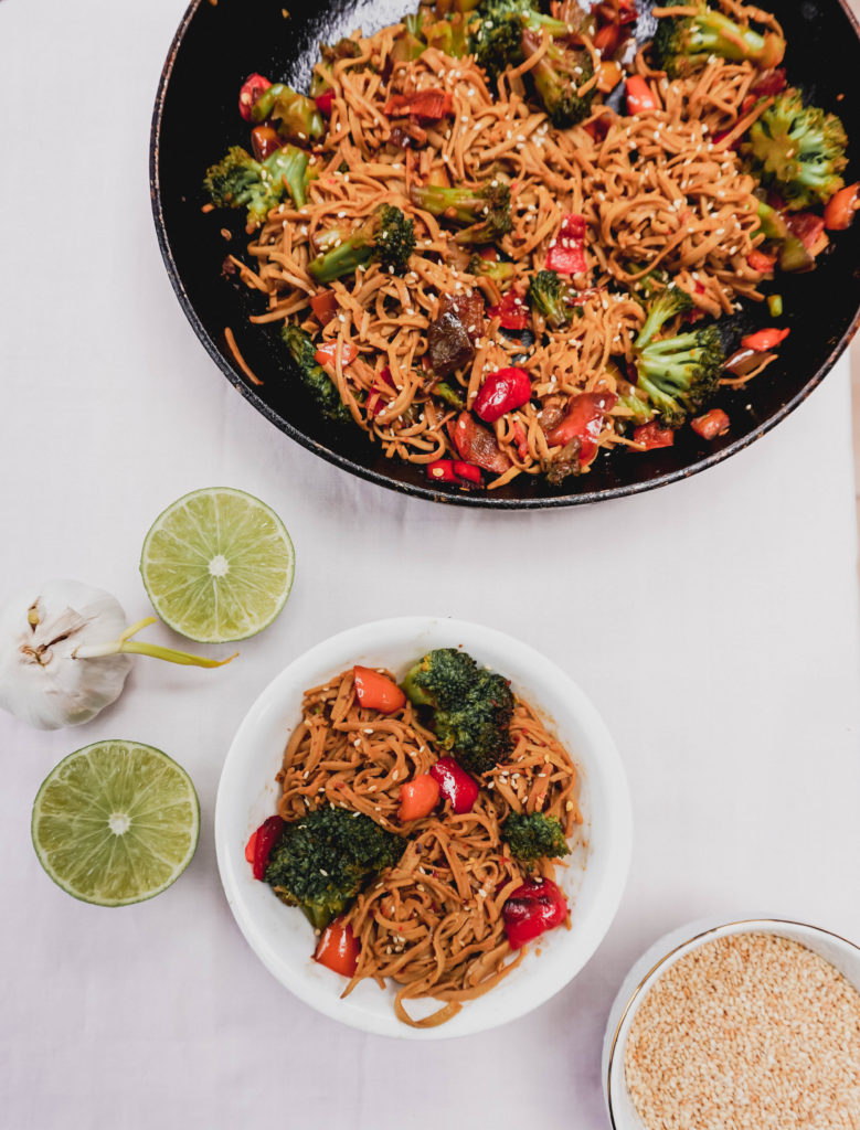 Chili Lime Noodles with Broccoli and bell pepper