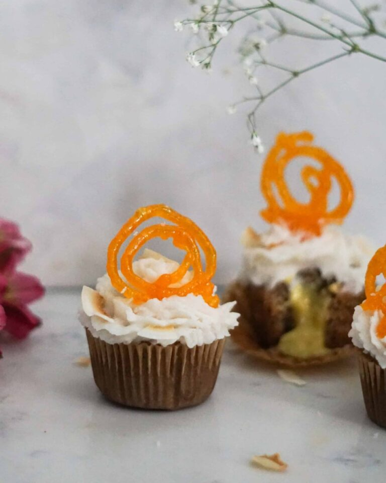 coconut jalebi cupcakes