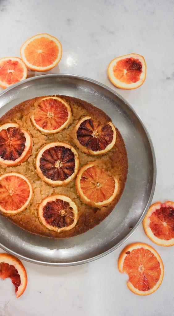 Blood orange saffron olive oil cake eggless
