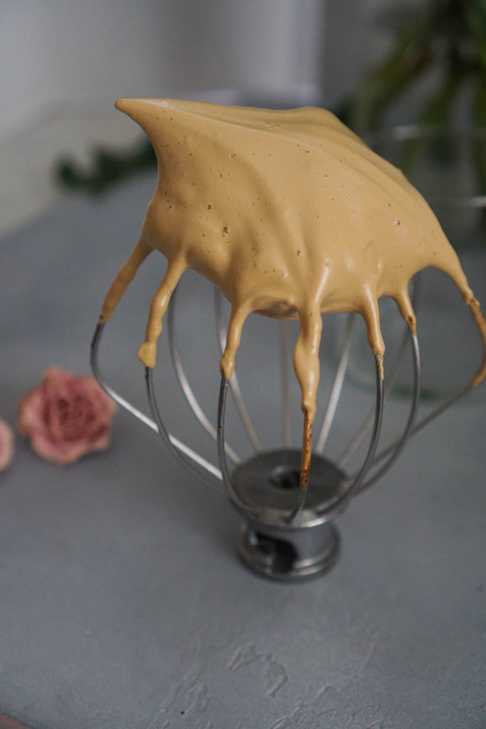 dalgona whipped coffee on wire whisk