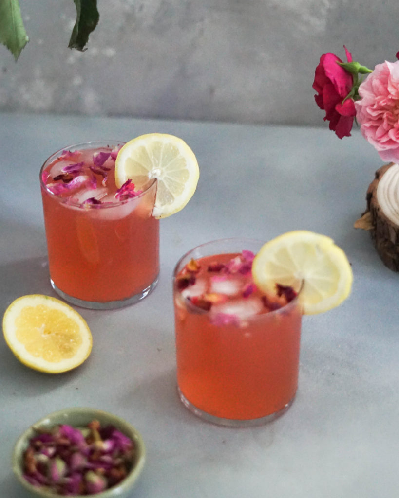 rose lemonade with rose petals and lemons