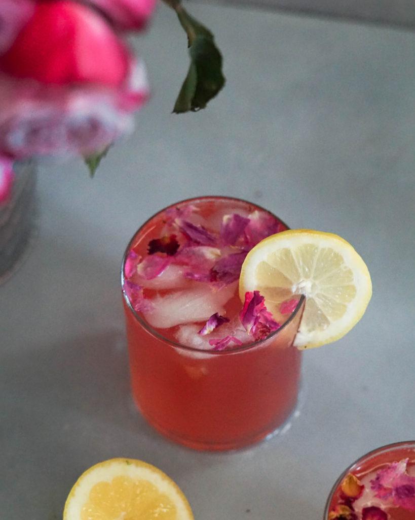 rose lemonade with rose petals
