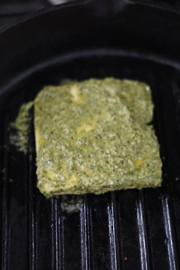 Paneer slice on grill