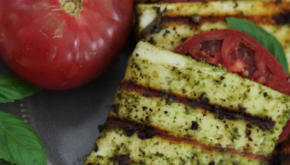 grilled garlic basil paneer