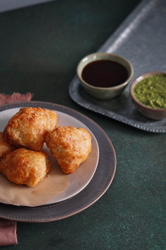 cheddar jalapeno baked samosa recipe puff pastry