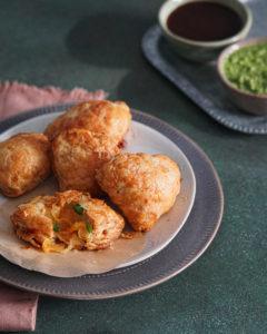 jalapeno cheddar baked samosa recipe with green chutney