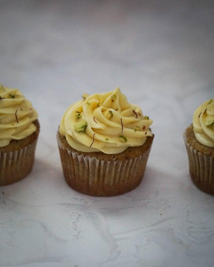 kesar pista cupcakes indian fusion dessert