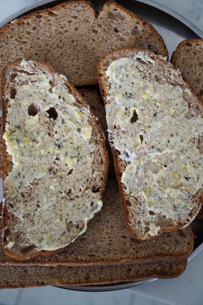 fresh garlic butter on bread