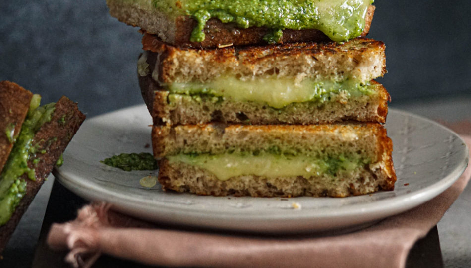jalapeno pesto garlic spicy grilled cheese