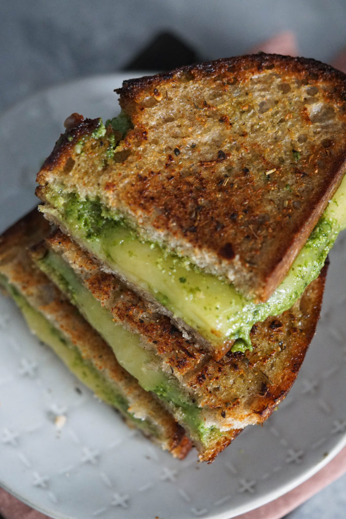garlic bread grilled cheese stacked