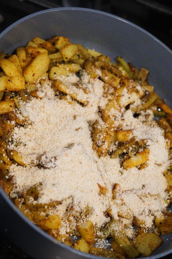 roasted cashews on karela nu shaak