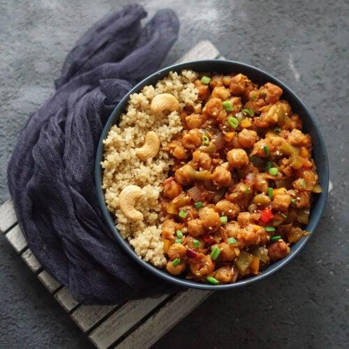 dry chilli chana with quinoa