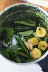 Cilantro coconut recipe ingredients in a blender