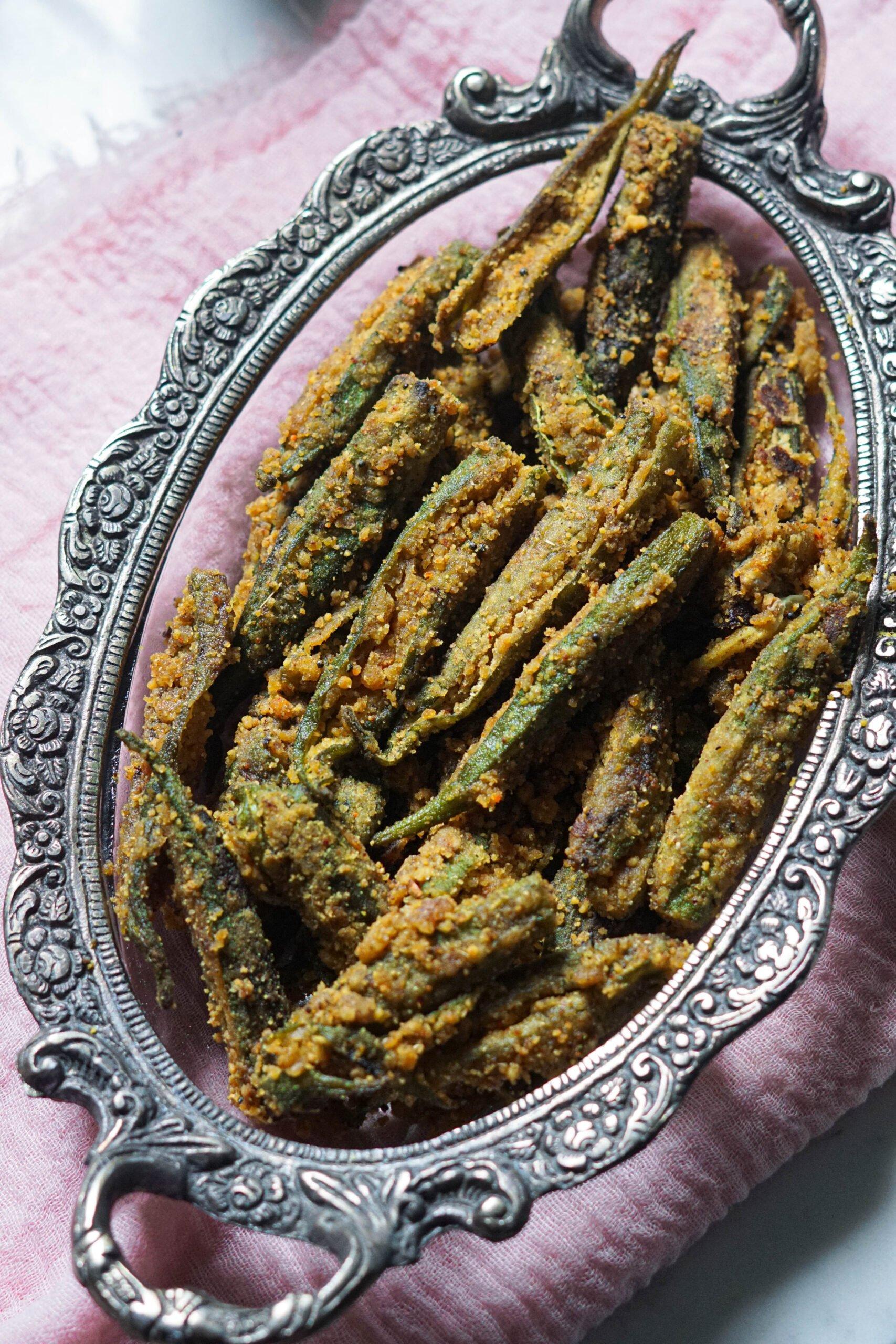 Bharwa bhindi in a ornate platter